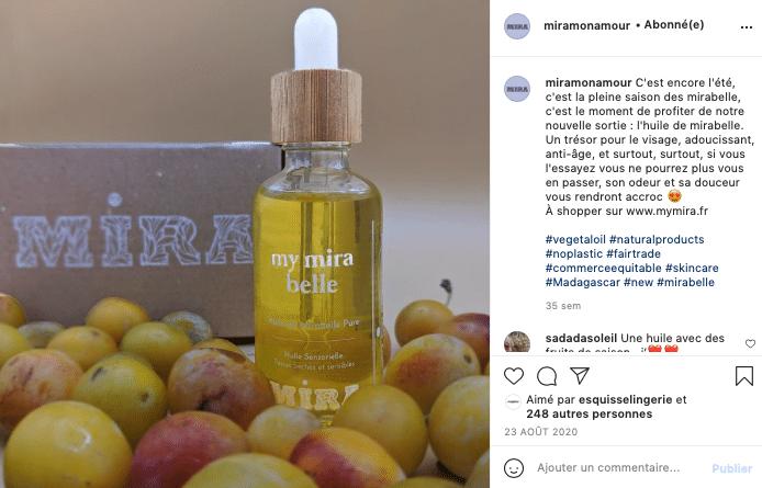 Ma sélection de cosmétiques éthiques et naturels à foilow sur Instagram, Mira !