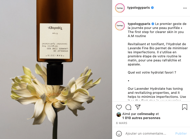 Ma sélection de cosmétiques éthiques et naturels à foilow sur Instagram, Typology !